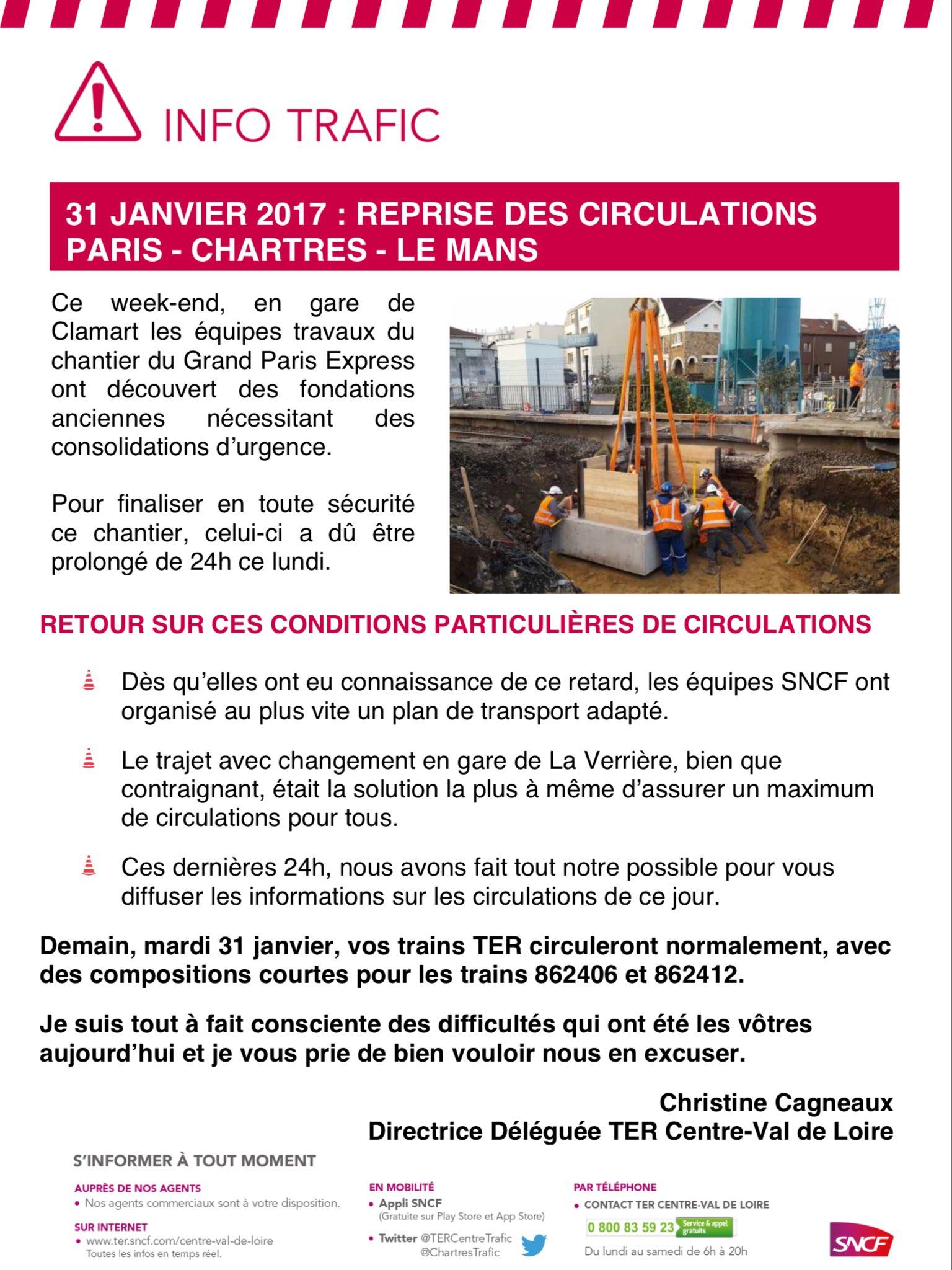 Info trafic du 31 janvier 2017