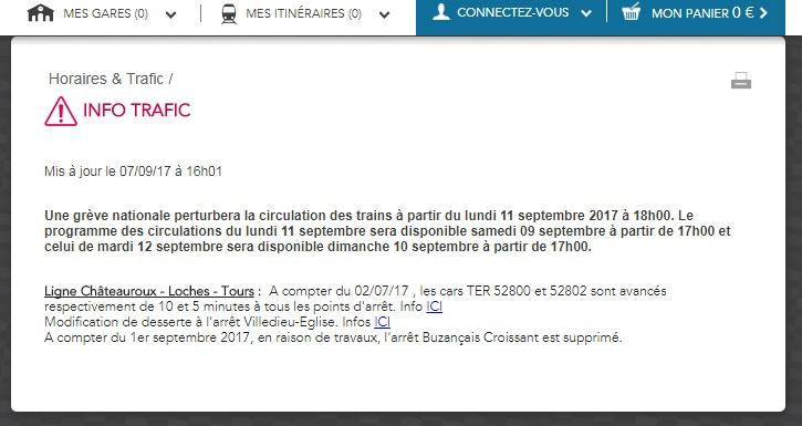 Info Trafic Grève du 12 septembre 2017 TER Centre Val de Loire