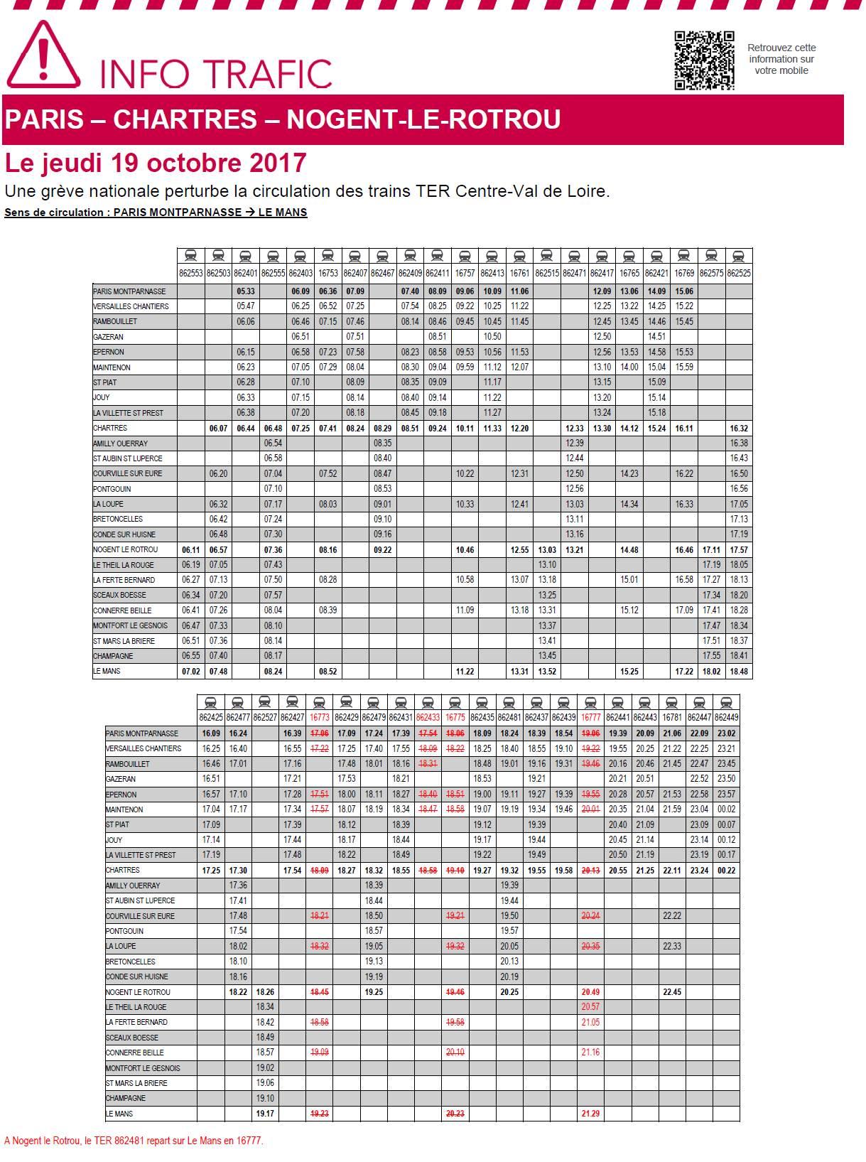 Horaire des TER - Grève du 19 octobre 2017